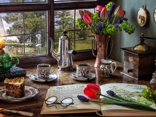 Собирать пазл Весенний кофе онлайн