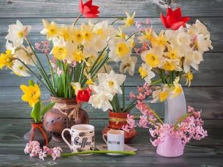 Собирать пазл Весенний натюрморт онлайн