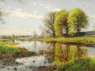 Собирать пазл Весенний пейзаж онлайн