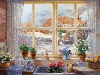 Собирать пазл Весна на окне онлайн