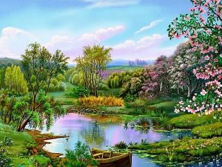 Собирать пазл Весна на реке онлайн