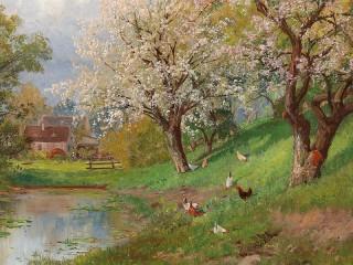 Собирать пазл Весна в деревне онлайн