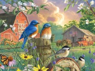Собирать пазл Весной на ферме онлайн
