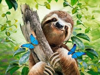 Собирать пазл Весёлый ленивец онлайн
