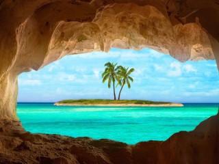 Собирать пазл Вид из пещеры онлайн