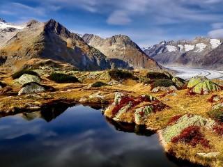 Собирать пазл Вид на ледник онлайн