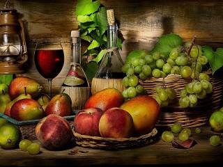 Собирать пазл Вино и фрукты онлайн