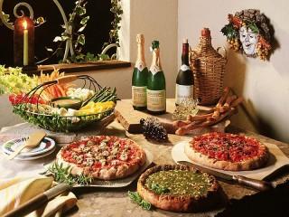 Собирать пазл Вино и пироги онлайн