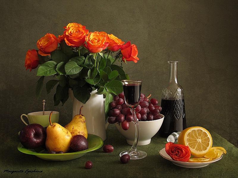 Пазл Собирать пазлы онлайн - Вино и розы