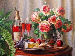 Собирать пазл Вино и розы онлайн
