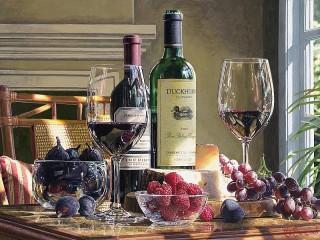 Собирать пазл Вино и ягоды онлайн
