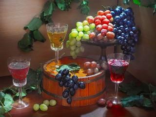 Собирать пазл Виноград и напитки онлайн