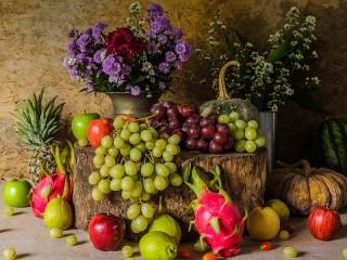 Собирать пазл Виноград и тыква онлайн
