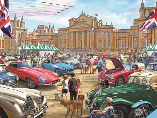 Собирать пазл Выставка автомобилей онлайн