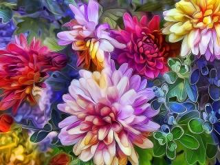 Собирать пазл Витраж из цветов онлайн