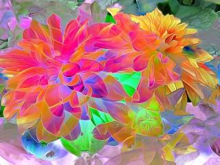 Собирать пазл Витражные цветы онлайн