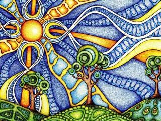 Собирать пазл Витражное солнце онлайн