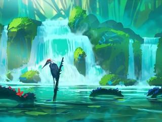 Собирать пазл Водопад и цапля онлайн