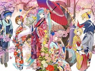 Собирать пазл Вокалоиды в кимоно онлайн