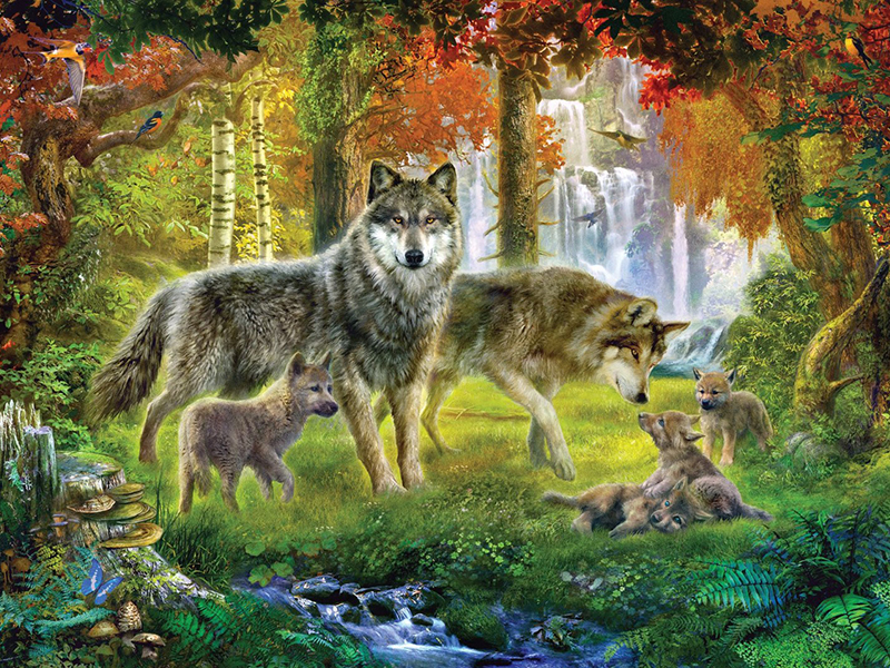 Пазл Собирать пазлы онлайн - Волчье семейство
