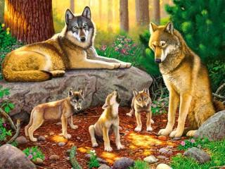 Собирать пазл Волчье семейство онлайн