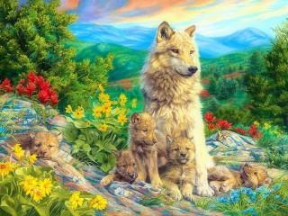Собирать пазл Волчица с детенышами онлайн