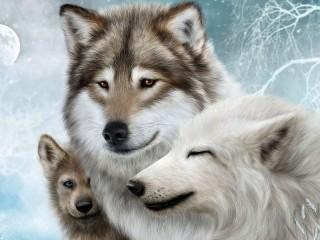 Собирать пазл Волчья семья онлайн