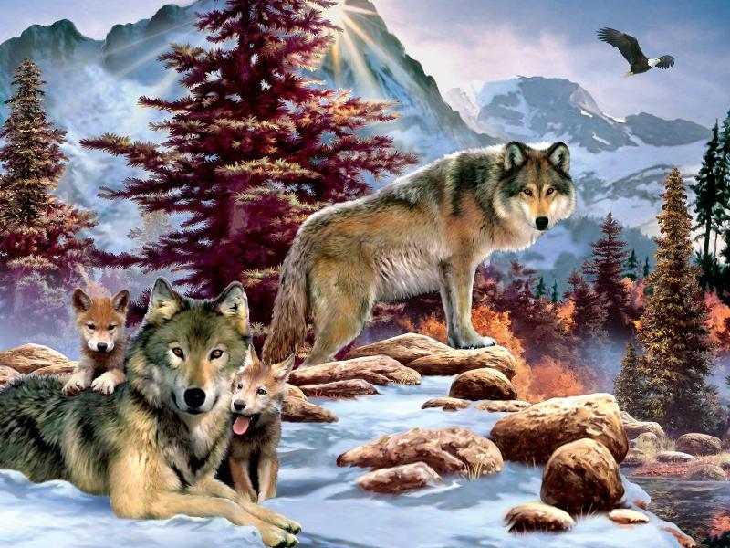 Пазл Собирать пазлы онлайн - Волки 1