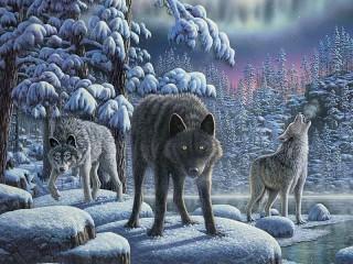 Собирать пазл Волки в лесу онлайн
