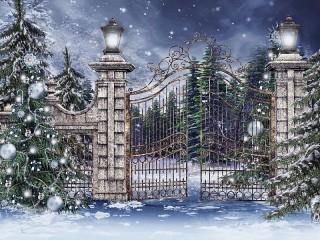 Собирать пазл Ворота в зимний парк онлайн