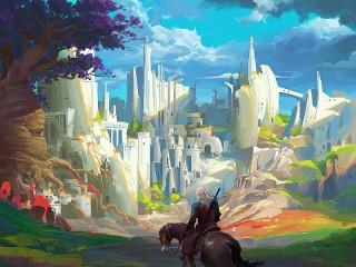 Собирать пазл Всадник и город онлайн