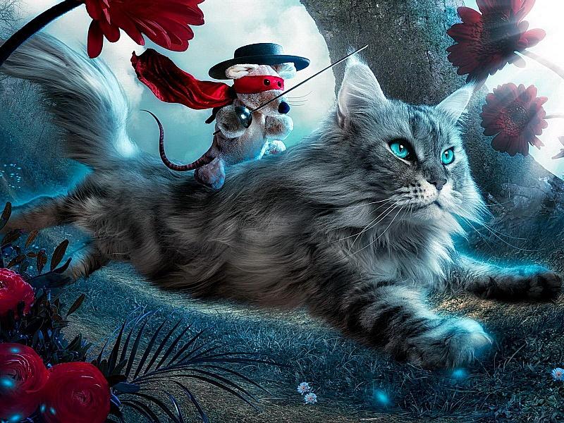 Пазл Собирать пазлы онлайн - Всадник на коте
