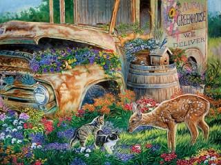 Собирать пазл Встреча в саду онлайн