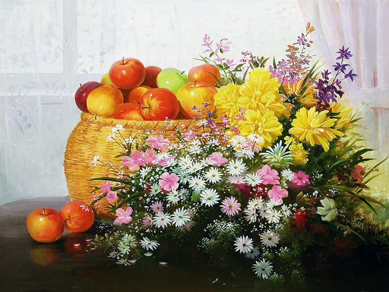 Пазл Собирать пазлы онлайн - Яблоки и цветы