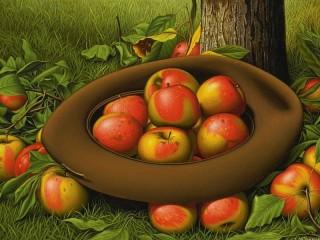 Собирать пазл Яблоки в шляпе онлайн