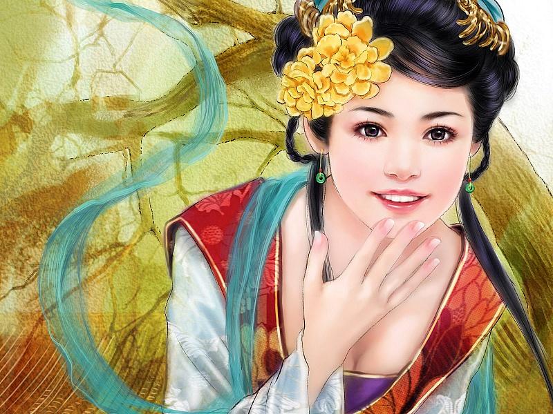 Пазл Собирать пазлы онлайн - Азиатка