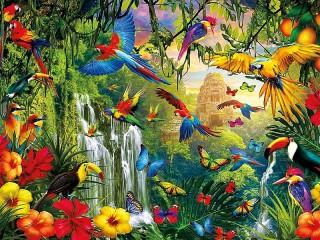 Собирать пазл Яркие джунгли онлайн