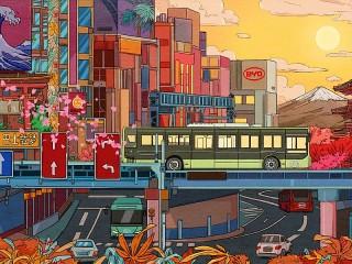 Собирать пазл Яркий город Токио онлайн
