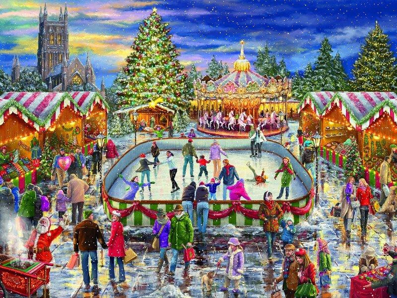 Пазл Собирать пазлы онлайн - Ярмарка на Рождество