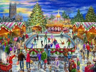 Собирать пазл Ярмарка на Рождество онлайн