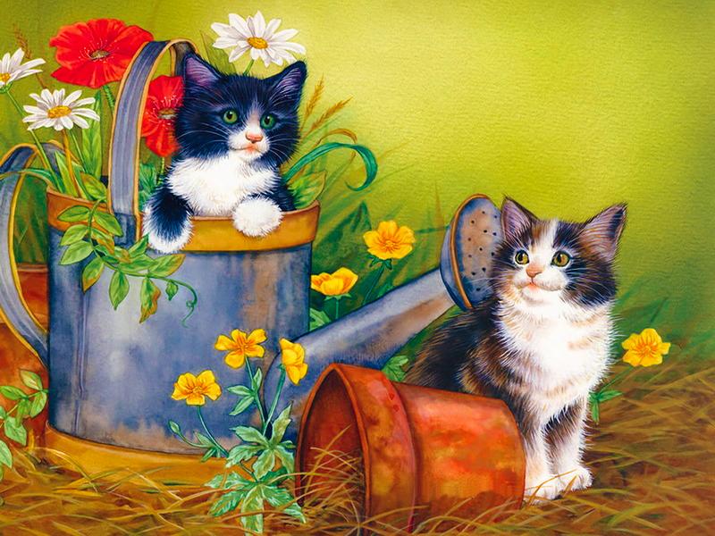 Пазл Собирать пазлы онлайн - Забавные котята 1