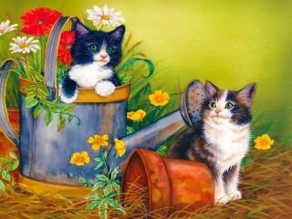 Собирать пазл Забавные котята 1 онлайн