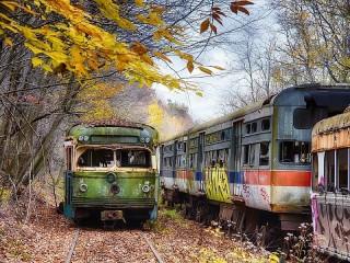 Собирать пазл Заброшенные вагоны онлайн
