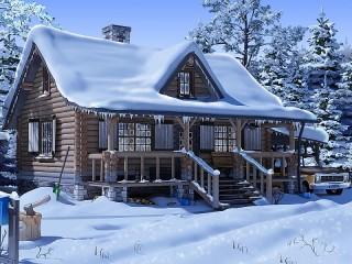 Собирать пазл Загородный дом зимой онлайн