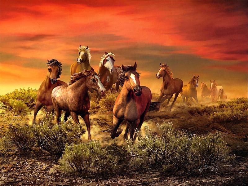 Пазл Собирать пазлы онлайн - Закат и лошади
