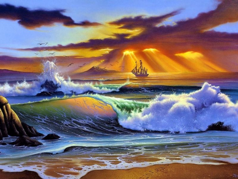 Пазл Собирать пазлы онлайн - Закат на море