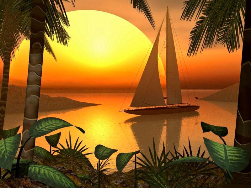 Пазл Собирать пазлы онлайн - Закат на острове