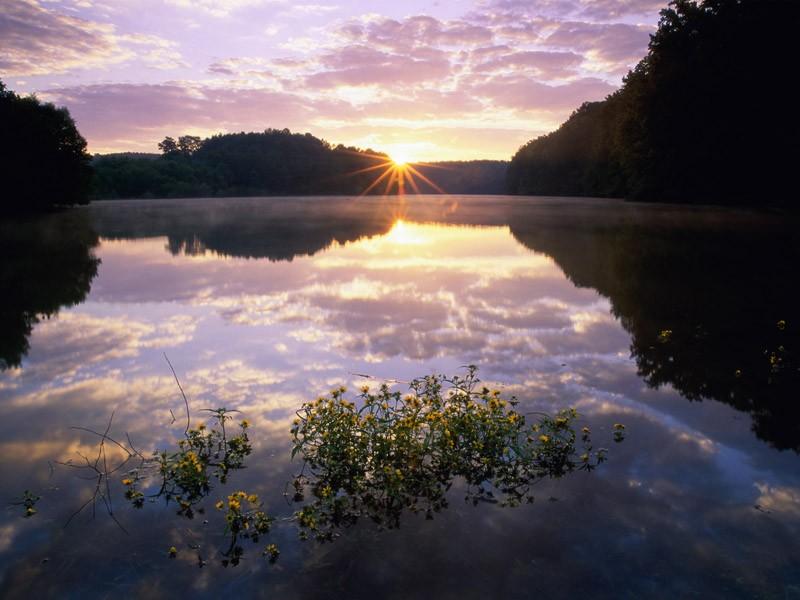 Пазл Собирать пазлы онлайн - Закат на озере