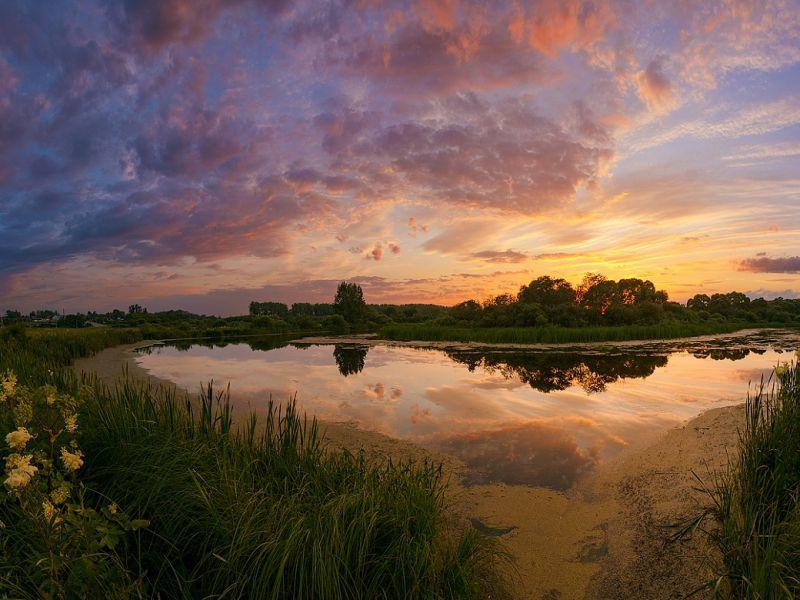Пазл Собирать пазлы онлайн - Закат над излучиной реки