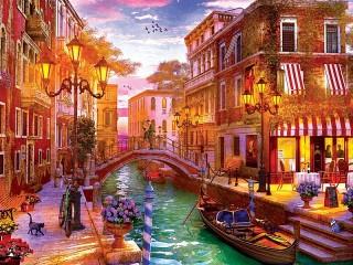 Собирать пазл Закат над Венецией онлайн